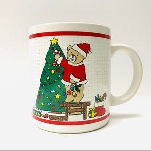 Other - Vintage Christmas Coffee Mug Teddy Bear Tree
